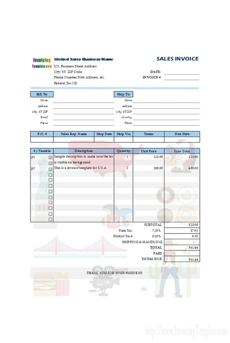 tax invoice templates   countries