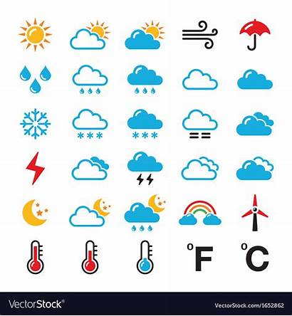 Weather Forecast Icon Icons Vector Colorful Royalty