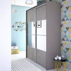 Porte Coulissante Placard Miroir : porte de placard coulissante effet b ton miroir spaceo l ~ Melissatoandfro.com Idées de Décoration