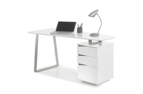 bureau mat bureau d 39 ordinateur blanc laqué mat novomeuble