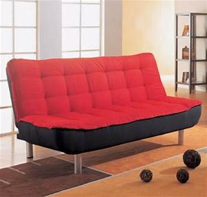 Sofa bed in red and black cover combination by coaster for Red and black sofa bed