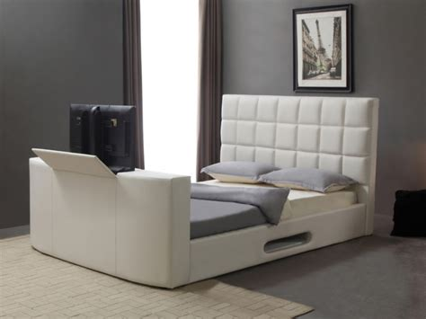 canapé 150 cm lit design en simili avec système tv intégré 160x200cm