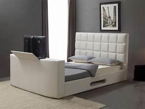 Lit Design En Simili Avec Systme TV Intgr 160x200cm
