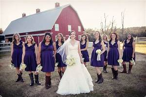 independent designer real wedding 9 bridesmaids With eggplant dresses for weddings