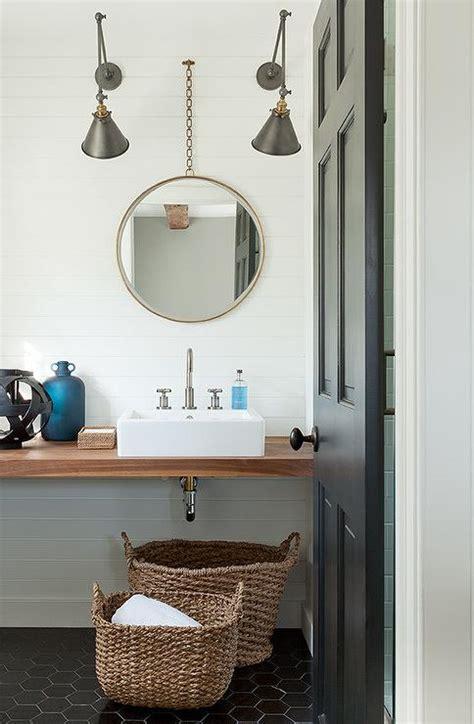 modern cottage bathroom  large black hex tile floor