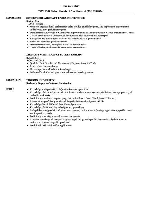 Maintenance Supervisor Resume by Aircraft Maintenance Supervisor Resume Sles Velvet