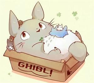 My Neighbor Totoro, cute, box, puppies, text; Studio ...