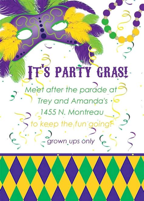 mardi gras invitation template