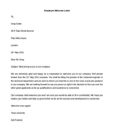 welcome letter to new employee 21 hr welcome letter templates doc pdf free