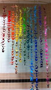 The Lost Sock   Rainbow Origami Crane Mobile