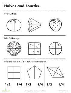 12 Best Images Of Halves And Fourths Worksheets First Grade  Fractions Halves Thirds Fourths