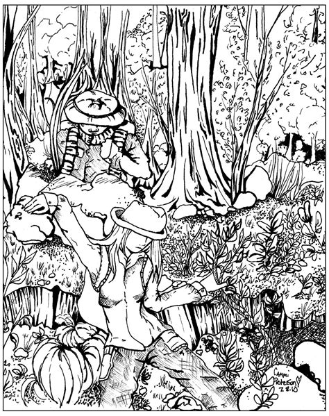 lost  forest jungle forest adult coloring pages