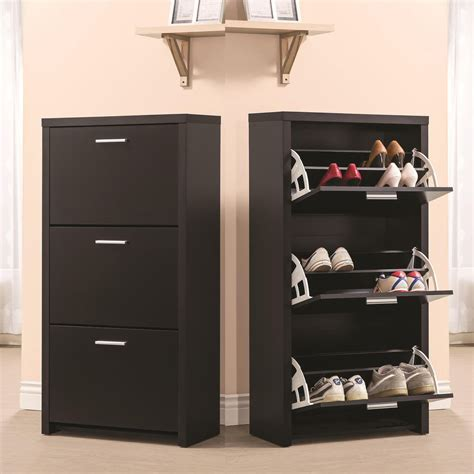 Black Wooden Tall 3 Drawer 12 Pair Shoe Organizer Cabinet
