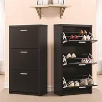 shoe organizer cabinet Black Wooden Tall 3-Drawer 12 Pair Shoe Organizer Cabinet Storage Rack Shelf New | eBay