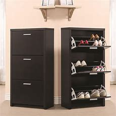 Black Wooden Tall 3drawer 12 Pair Shoe Organizer Cabinet
