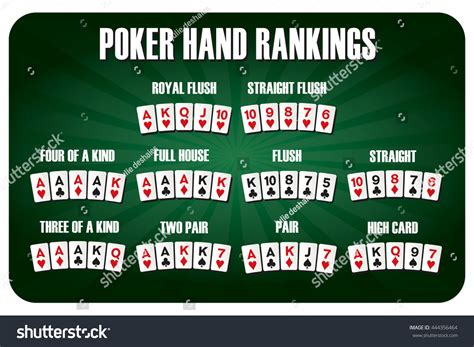 texas holdem poker hand rankings combination stock vector