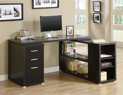 desk with drawers and shelves cappuccino corner l shaped office desk with drawers