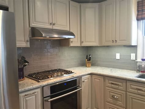 grey glass subway tile kitchen backsplash  white