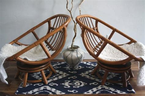 vintage bamboo swivel egg chairs boho chic set   rattan