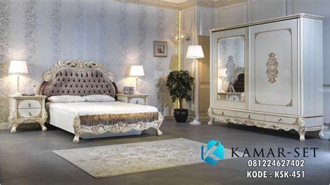 set tempat tidur kasur mewah ukir klasik ksk  kamar