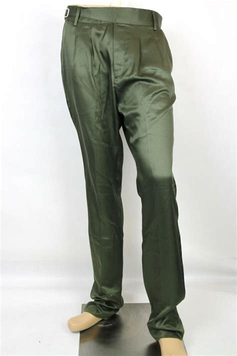 authentic gucci mens silk casualdress pants green