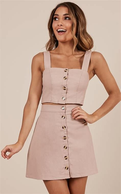 Two Pieces By Domiadream cut me two set in blush linen look produced in