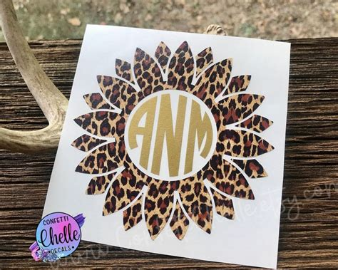 cheetah sunflower decal flower decal monogram decal  confettichelle  etsy monogram