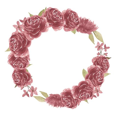 watercolor burgundy rose flower  frame border