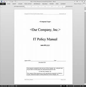 Computer Use Policy Template IT Policy Manual ABR34MPM