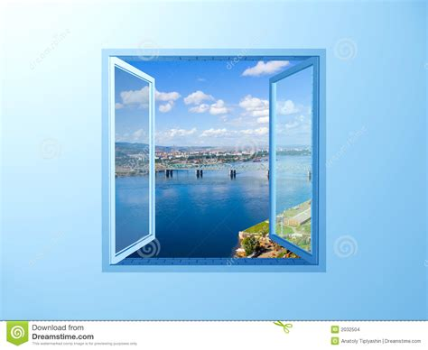 a frame style house plans window on the blue wall on river view stock images image