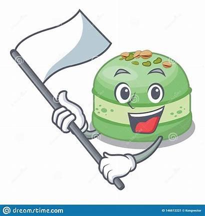 Cake Mascot Pistachio Flag Shape