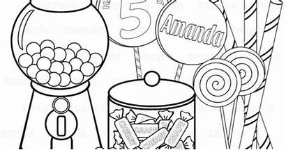 Coloring Candy Printable Sweet Candyland Birthday Theme