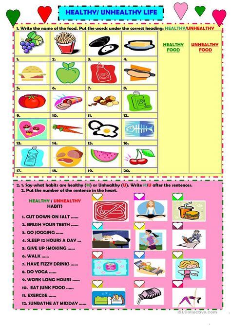 healthyunhealthy life english esl worksheets