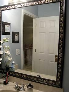 Diy frame a bathroom mirror with molding tile master for Molding around mirror bathroom