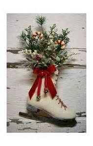 christmas ice skate christmas wreath door decor vintage cottag