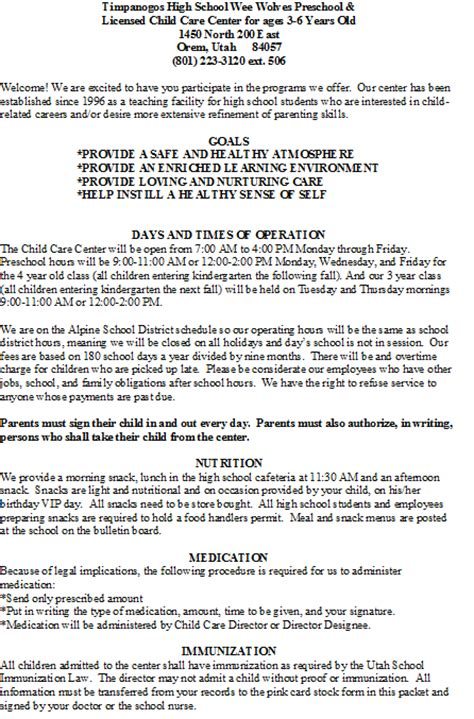 timpanogos weewolves childcare amp preschool policies and 434 | policy 1