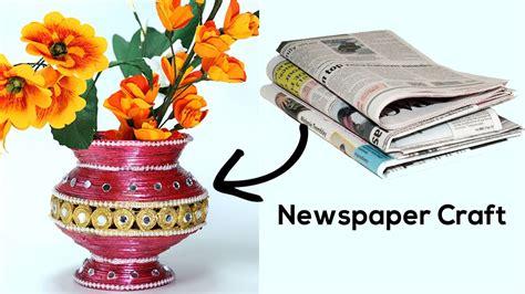 waste diy flower vase  newspaper craft