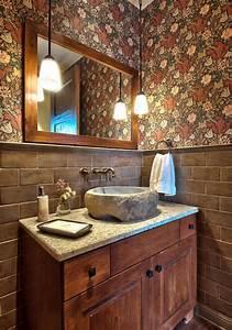 Stone Vessel Sinks Powder Room Contemporary With Bathroom