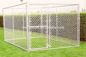Big dog use metal welded chain link wire out door dog for Dog run cage enclosure