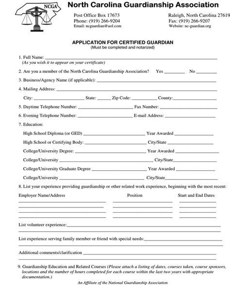 north carolina guardianship form   page