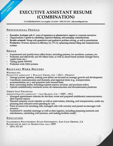 Resume Eg by Executive Assistant Resume Exle Resume Companion