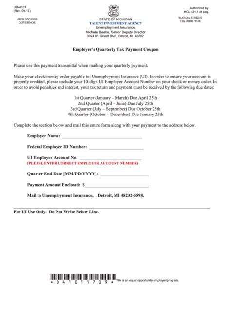 fillable form uia  employers quarterly tax payment