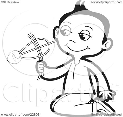 royalty free rf clipart illustration of a coloring page outline of a sinhala boy with