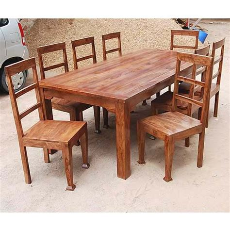 rustic  person large kitchen dining table solid wood  pc
