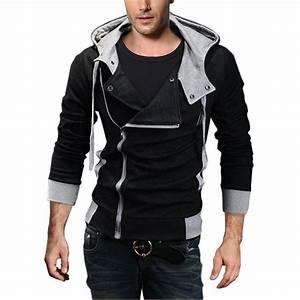 DJT Oblique Zipper Hoodie Casual - Mens Urban Clothing