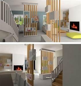 Cloison Séparation Pièce : am nager une entr e cloison s paration de pi ce escalier ~ Premium-room.com Idées de Décoration