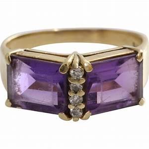 Amethyst Diamond Cocktail Ring | 14K Yellow Gold | Vintage ...