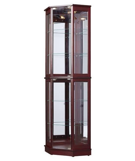 floor standing corner curio cabinet glass mirrored back