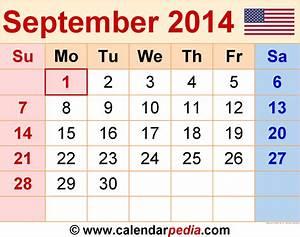 September 2014 Calendars For Word  Excel  U0026 Pdf