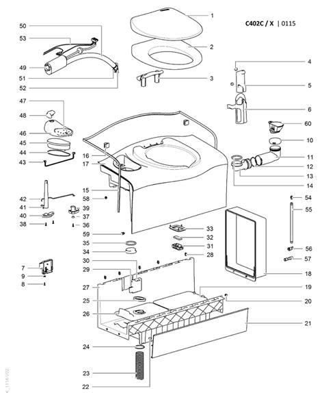 caravansplus spare parts diagram thetford c402 c x cassette toilet